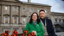 Happy couple, Catherine Martin and Noel Francis Duffy at Leinster House. Pic:Mark Condren 19.2.2020
