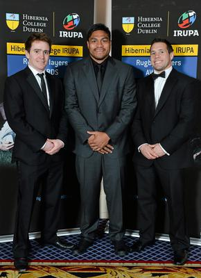 Leinster's Eoin Reddan, left, Ulster's Nick Williams and Leinster's Isaac Boss, right, in attendance at the Hibernia College IRUPA Rugby Player Awards 2013. Burlington Hotel, Dublin. Picture credit: Brendan Moran / SPORTSFILE