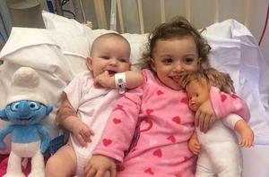Mila Healy (3 months) and and her aunt Lola Murphy (2) who are recovering from the fire at their home at Gloucester Place on  Tuesday November 25, 2014.