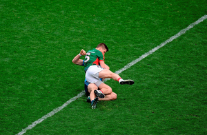 Lee Keegan and Diarmuid Connolly tussle in an incident which eventually saw Connolly sent off