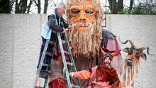 Putting the finishing touches to its floats were Spraoi's Mike Leahy and Nicholas Kavanagh. Photo: Robbie Reynolds