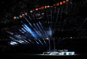 Julia Volkova and Lena Katina of t.A.T.u perform during the Opening Ceremony of the Sochi 2014 Winter Olympics at Fisht Olympic Stadium
