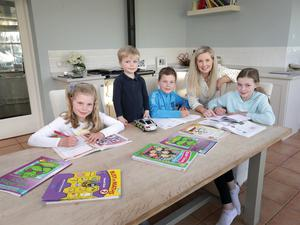 Home schooling: Caroline Finnerty with her children, twins Bea and Tom (8), Charlie (3) and Lila (10). Photo: Frank McGrath