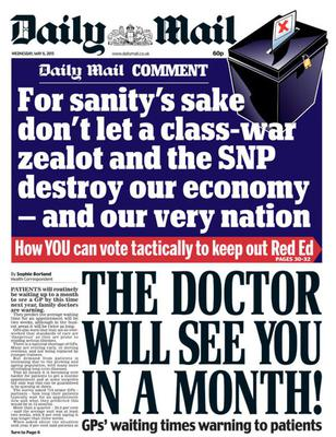 The front page of the 'Daily Mail' a day before the General Election