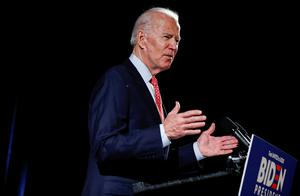 Tough challenge: Joe Biden speaks at an event in Wilmington, Delaware, last month but now can't hold rallies. Photo: Reuters/Carlos Barria/File Photo