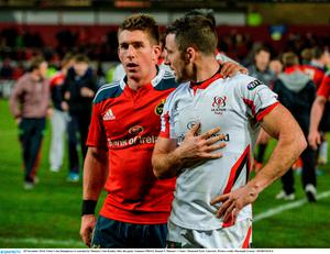 Ulster's Ian Humphreys is consoled by Munster's Ian Keatley after the game. Guinness PRO12, Round 9, Munster v Ulster, Thomond Park, Limerick. Picture credit: Diarmuid Greene / SPORTSFILE