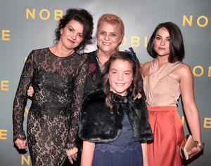 Christina Noble (Centre) with Actresses Deirdre O Kane ,Gloria Cramer Curtis and Sarah Greene who play her in the film   at The Irish Gala Screening of NOBLE  at the Savoy Cinema on O'Connell Street, Dublin Pictures: Brian McEvoy
