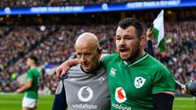 Cian Healy picked up a hip injury against England at Twickenham. Photo by Brendan Moran/Sportsfile