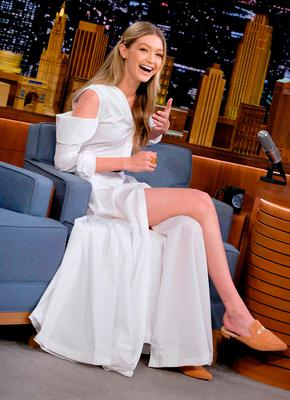 """Gigi Hadid visits """"The Tonight Show Starring Jimmy Fallon"""" at Rockefeller Center on November 15, 2017 in New York City.  (Photo by Jamie McCarthy/Getty Images)"""