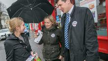 Renua leader Lucinda Creighton and Carlow/Kilkenny by-election candidate Patrick McKee chat with Eleanor Trousdell during a canvass in Castlecomer