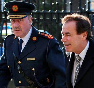 Former Garda Commissioner Martin Callinan with former Minister for Justice Alan Shatter. Photo: Steve Humphreys.