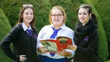 Hanna Lee Ryan, Haley Ryan Blake and Shannon McInerney after their Leaving Cert French Exams in Salesian Secondary School, Limerick, yesterday. Photo: Brian Gavin