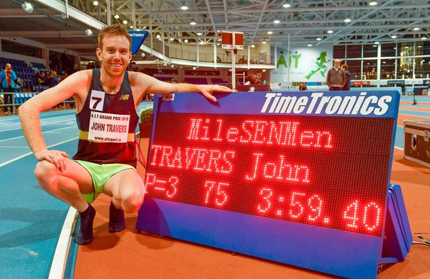 John Travers with his time of 3:59.40 which saw him become the first Irishman to break 4:00 in Ireland for the men's mile at last night's AIT International Athletics Grand Prix. Photo: Brendan Moran/Sportsfile