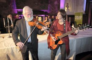 John Sheahan (formerly of The Dubliners) and Eleanor McEvoy at the launch of TradFest Temple Bar, Dublin. Photo: Gareth Chaney