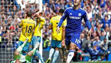 The Crystal Palace players are a picture of dejection as Eden Hazard celebrates after scoring for Chelsea