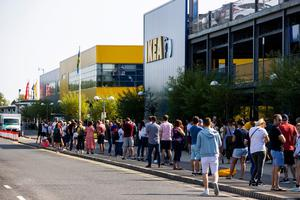 IKEA in Belfast opens its door for the first time since the lockdown began, with hundreds of shoppers queuing to get in. Some had been queuing from before 8am Photo credit: Liam McBurney/PA Wire