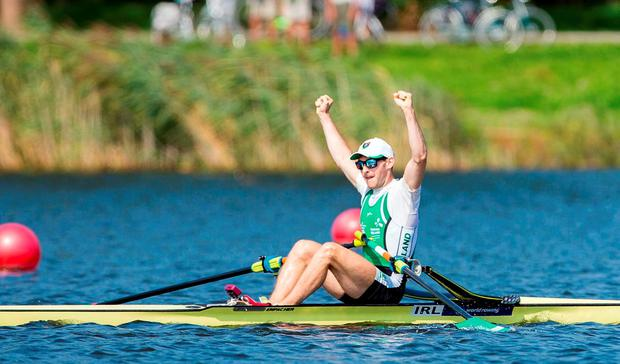 Ireland's Paul O'Donovan celebrates after winning the Lightweight Mens Single Sculls Final at the 2016 World Rowing Championships at the Willem-Alexanderbaan Rowing Venue in Rotterdam, Netherlands. Photo by Herman Dingler/Sportsfile