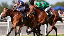 Found and Ryan Moore are caught close home by Ervedya (right), under Christophe Soumillion, in the Coronation Stakes