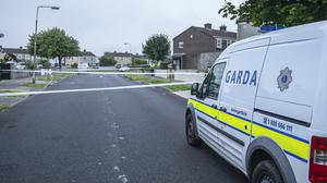 The scene at Tymon North Green in Tallaght where a man lost his life overnight Picture; Gerry Mooney.