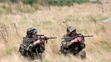 Members of the Defence Forces return fire during a simulated ambush pictured during intense training in preparation for their forthcoming deployment to the United Nations Disengagement Observation Force, (UNDOF) based in the Golan Heights region of Syria. Picture Colin Keegan, Collins Dublin.
