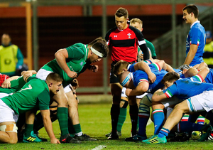 22 February 2019; Both packs prepare to engage in a scrum during the U20 Six Nations Rugby Championship match between Italy and Ireland at Stadio Centro d'Italia in Rieti, Italy. Photo by Daniele Resini/Sportsfile