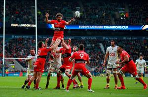 Toulon's Juan Fernadez Lobbe wins a lineout during the European Champions Cup Final at Twickenham on Saturday