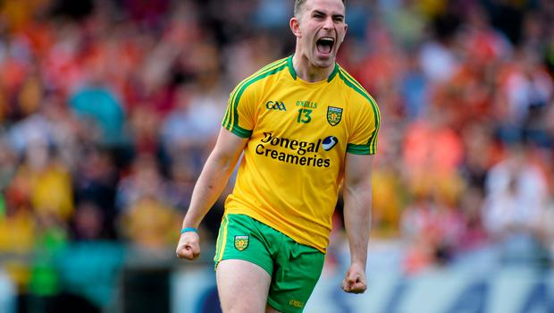 14 June 2015; Patrick McBrearty, Donegal, celebrates after scoring his side's first goal. Ulster GAA Football Senior Championship Quarter-Final, Armagh v Donegal. Athletic Grounds, Armagh. Picture credit: Oliver McVeigh / SPORTSFILE