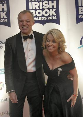 Graham Norton & Cathy Kelly during the ninth annual Bord Gais Energy Irish Book Awards 2014 at the The Double Tree by Hilton Hotel, Dublin