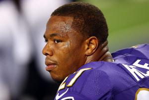 Baltimore Ravens running back Ray Rice is likely never to play another game in the NFL after footage emerged of his assault on his wife. Photo: Ronald Martinez/Getty Images