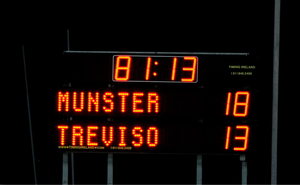 A view of the scoreboard after the game
