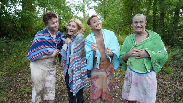 Bobby Davro, Michelle Collins, Joe Swash and Stephen Bailey in Celebrity 5 Go Camping (Channel 5)