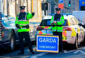 On the frontline: Gardaí will have 50 test kits at locations around the country. Photo: Collins