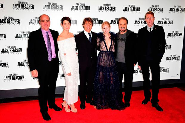 (left-right) Don Granger, Cobie Smulders, Tom Cruise, Danika Yarosh, Edward Zwick and Lee Child attending the Jack Reacher: Never Go Back European Premiere at Cineworld Leicester Square, London.