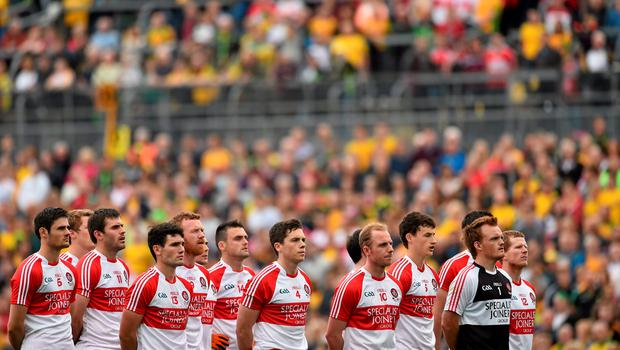 27 June 2015; The Derry team during the National Anthem. Ulster GAA Football Senior Championship, Semi-Final, Derry v Donegal. St Tiernach's Park, Clones, Co. Monaghan. Picture credit: Ramsey Cardy / SPORTSFILE