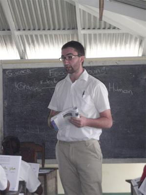 Cillian teaching in Guyana