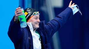 Mona McSharry of Ireland before the women's 100 metre breaststroke final at the Tokyo Aquatics Centre during the 2020 Summer Olympic Games. Photo by Ian MacNicol/Sportsfile