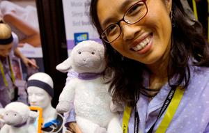 Wei-Shin Lai, inventor and CEO of Acoustic Sheep LLC shows off her invention, the Dozer music player and sleep tracker for children at CES in Las Vegas, January 3, 2017.  REUTERS/Rick Wilking