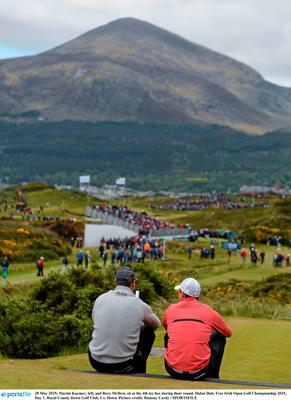 28 May 2015; Martin Kaymer, left, and Rory McIlroy sit at the 4th tee box during their round. Dubai Duty Free Irish Open Golf Championship 2015, Day 1. Royal County Down Golf Club, Co. Down. Picture credit: Ramsey Cardy / SPORTSFILE