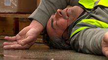 Emmerdale December 23.  Aron lashes out - with bloody results.  PIC: ITV