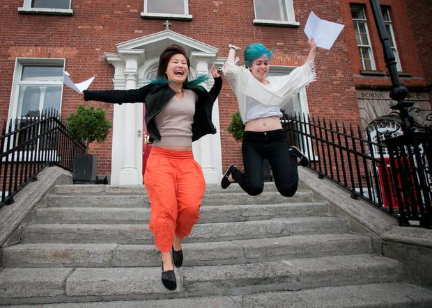 Loreto on the Green Students (L to R) Ming Flannelly from Dun Laoghaire & Aisling Gregg Harold's Cross celebrate Leaving Cert Results at Loreto on the Green, Dublin. Photo: Gareth Chaney Collins