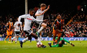 Fulham's Marcus Bettinelli fouls Hull City's Abel Hernandez and a penalty is awarded. Photo: Reuters / Paul Childs