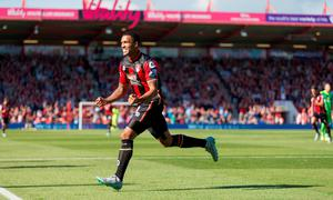 Bournemouth's English striker Callum Wilson celebrates after scoring the opening goal during the English Premier League football match between Bournemouth and Sunderland at the Vitality Stadium in Bournemouth, southern England on September 19, 2015. AFP PHOTO / CHRIS ISON
