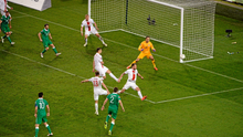 Seamus Coleman, Republic of Ireland, watches as his strike on goal goes wide