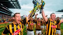Kilkenny's Richie Hogan, left, and Eoin Larkin celebrate with the Liam MacCarthy cup. GAA Hurling All-Ireland Senior Championship Final, Kilkenny v Galway, Croke Park, Dublin. Picture credit: David Maher / SPORTSFILE