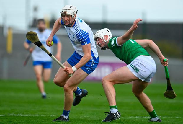 Waterford's Jack Fagan in action against Limerick's Kyle Hayes during the Allianz Hurling League Division 1A match at Walsh Park in Waterford. Photo: Sam Barnes/Sportsfile