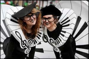 Enjoying the St Patricks Day Parade in Dublin was Emily Vaughan  and Shauna Rouse  from Artastic in Kildare