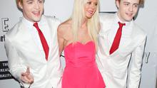 """Jedward and Tara Reid arrive at the Los Angeles premiere of """"Little Boy"""" held at Regal Cinemas L.A. Live on April 14, 2015 in Los Angeles, California.  (Photo by Michael Tran/FilmMagic)"""