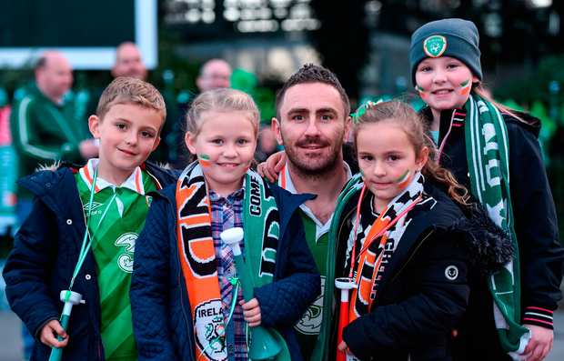 Sam McGill (9), Mia Connolly (10), David McGill, Lucie McGill (6) and Erin Connolly (10) from Kildare town were cheering on the Boys in Green. Photos: Sportsfile