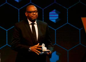 U.S. actor Forest Whitaker walks off stage after receiving the Crystal Award during the annual meeting of the World Economic Forum (WEF) in Davos, Switzerland January 16, 2017.  REUTERS/Ruben Sprich