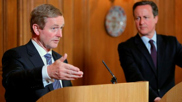 Irish Taoiseach Enda Kenny (left) and Prime Minister David Cameron hold a joint press conference at 10 Downing Street, London. Photo: Chris Radburn/PA Wire